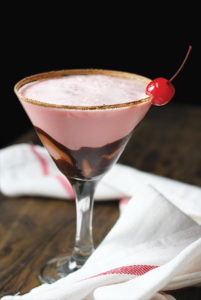 Sweet chocolate cocktail in martini glass.