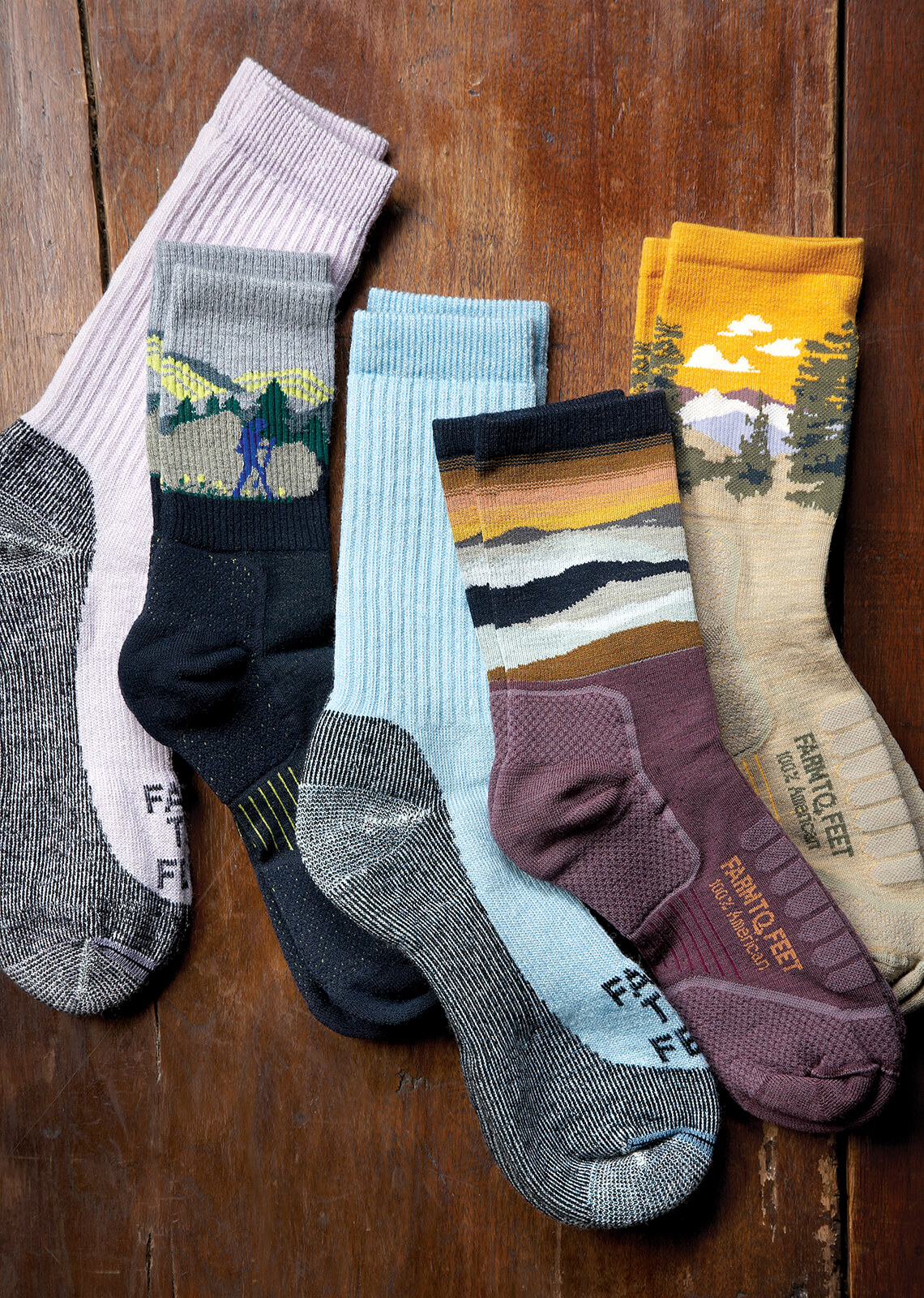 Various socks made from different companies in North Carolina.