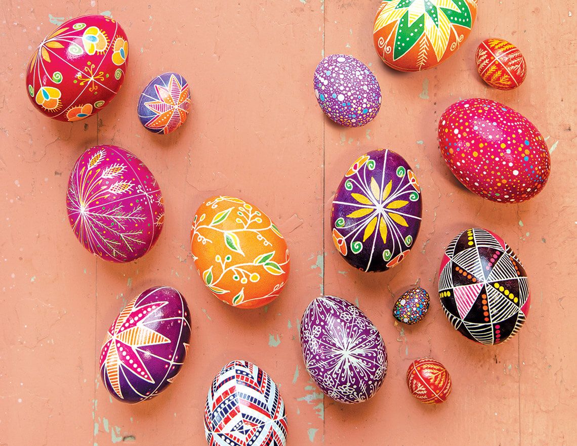 A collection of pysanky egg art.