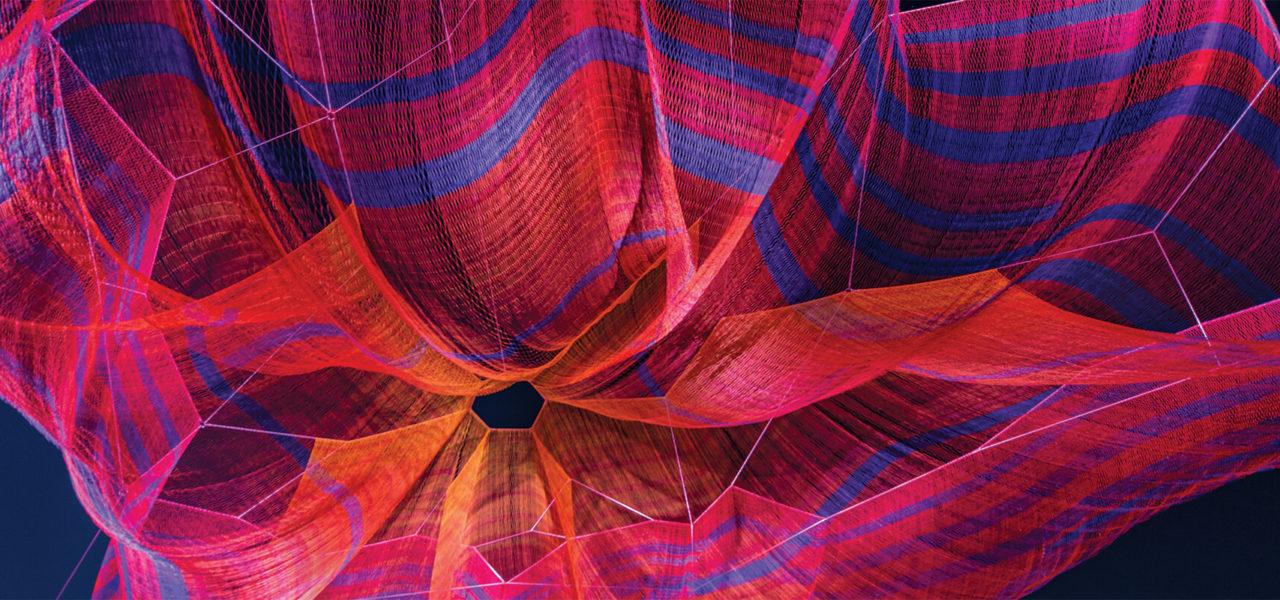 Janel Echelman's net sculpture at Lebauer Park.