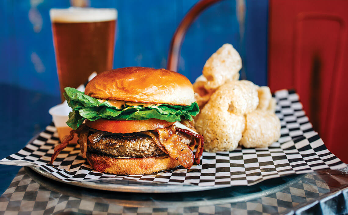 Delicious burger from Blue Cow Grille.
