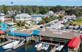 Bird's eye view of Fishy Fishy Cafe and dock.