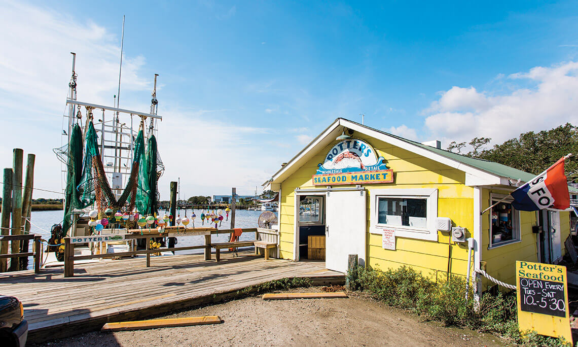 Front of Potter's Seafood Market.