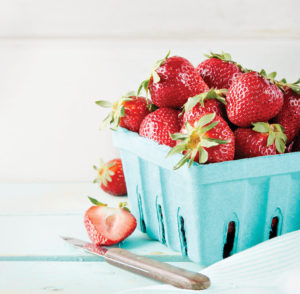 Fresh strawberries in basket.
